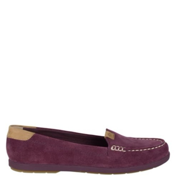28dcb058017 New Sperry Coil Mia Grape Suede Loafers